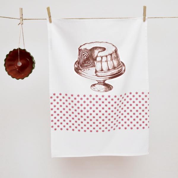 TEA TOWEL BROWN- RED POTICA